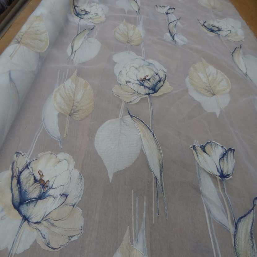 6 5m de voile imprime fleurs ton mastic indigo