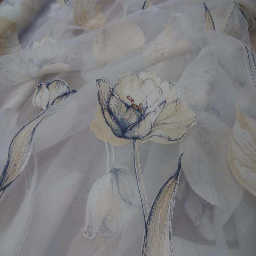 6 5m de voile imprime fleurs ton mastic indigo0