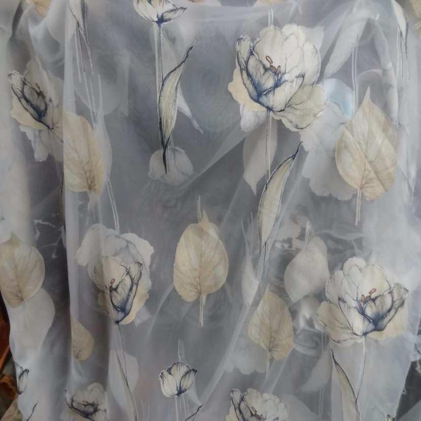 6 5m de voile imprime fleurs ton mastic indigo2