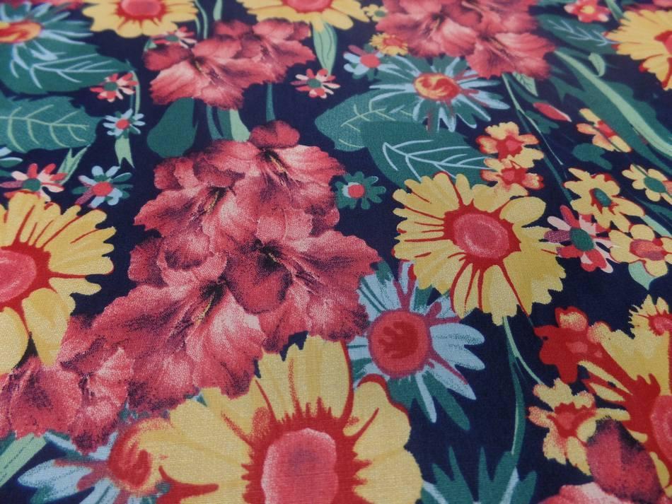 Achat popeline coton noire imprime fleurs ton de terre bordeaux vert jaune