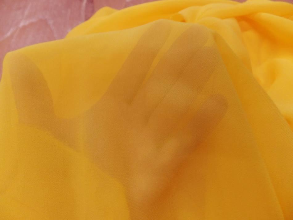 Achat tissu crepe de soie tres fin ton jaune soleil