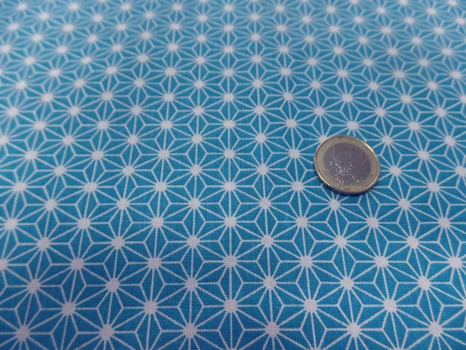 Achat tissu cretonne imprime geometrique bleu et blanc