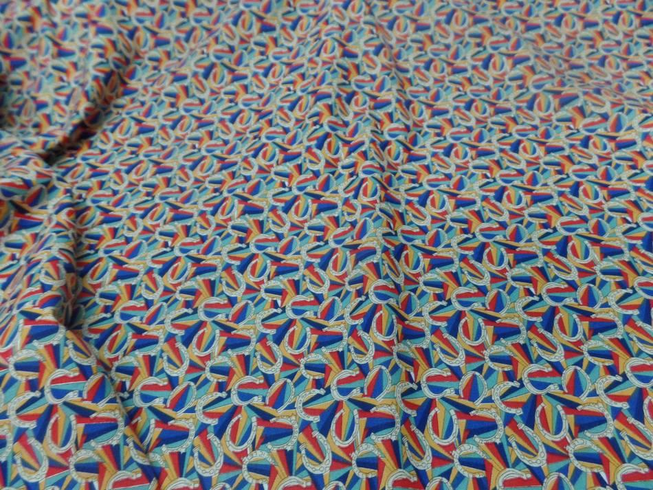 Achat tissu popeline coton imprime fer a cheval multi couleurs