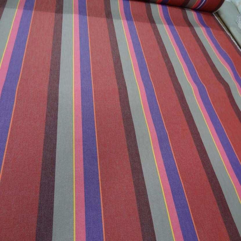 Tissu bache 4 saisons a rayures rouge taupe violet jaune orange