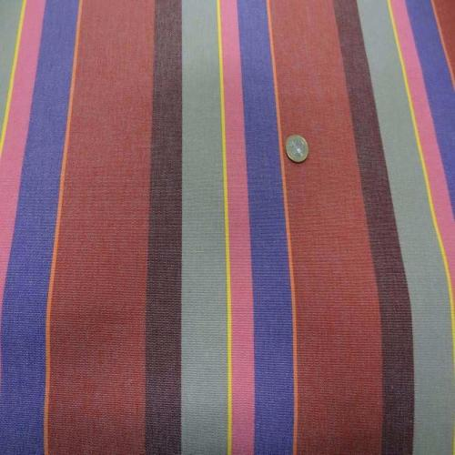Tissu bache d' extérieur a rayures rouge taupe violet jaune orange
