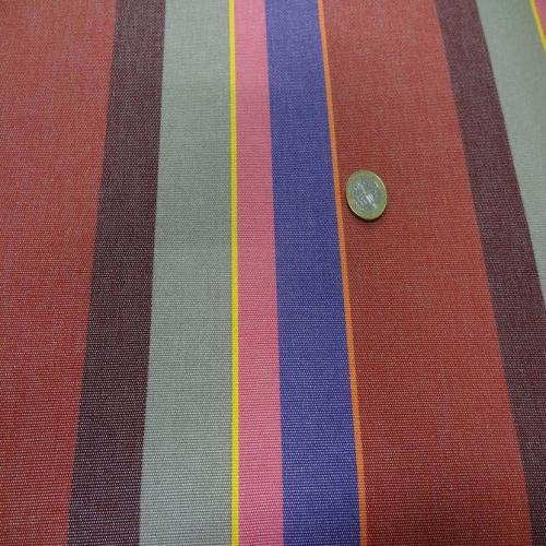 Tissu bache pour l'extérieur a rayures rouge taupe violet jaune orange