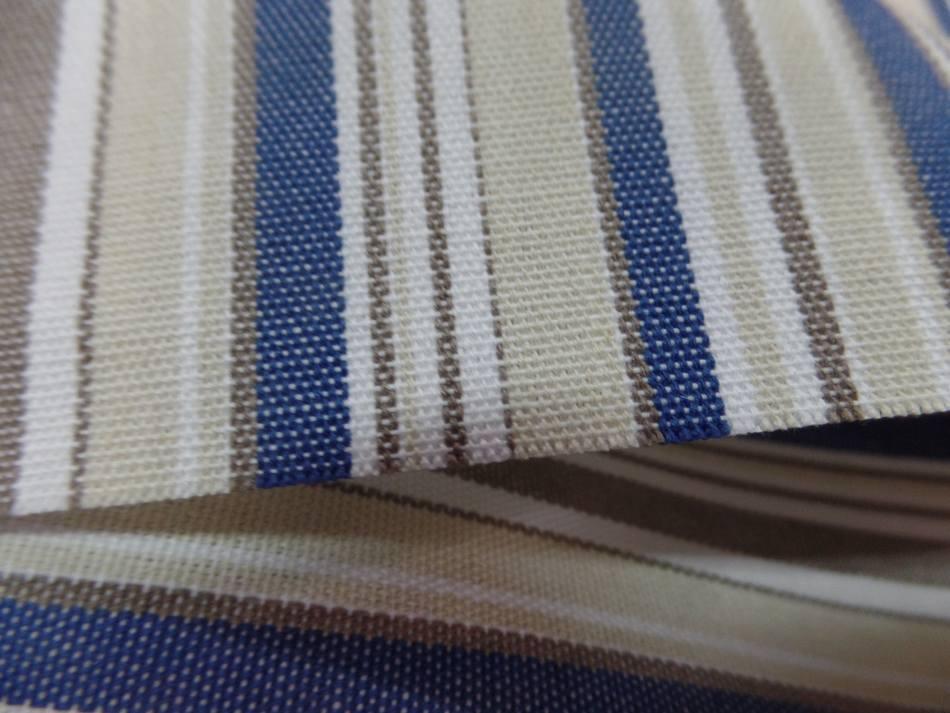 Bache d exterieur en teflon a rayure blanc beige bleu et taupe
