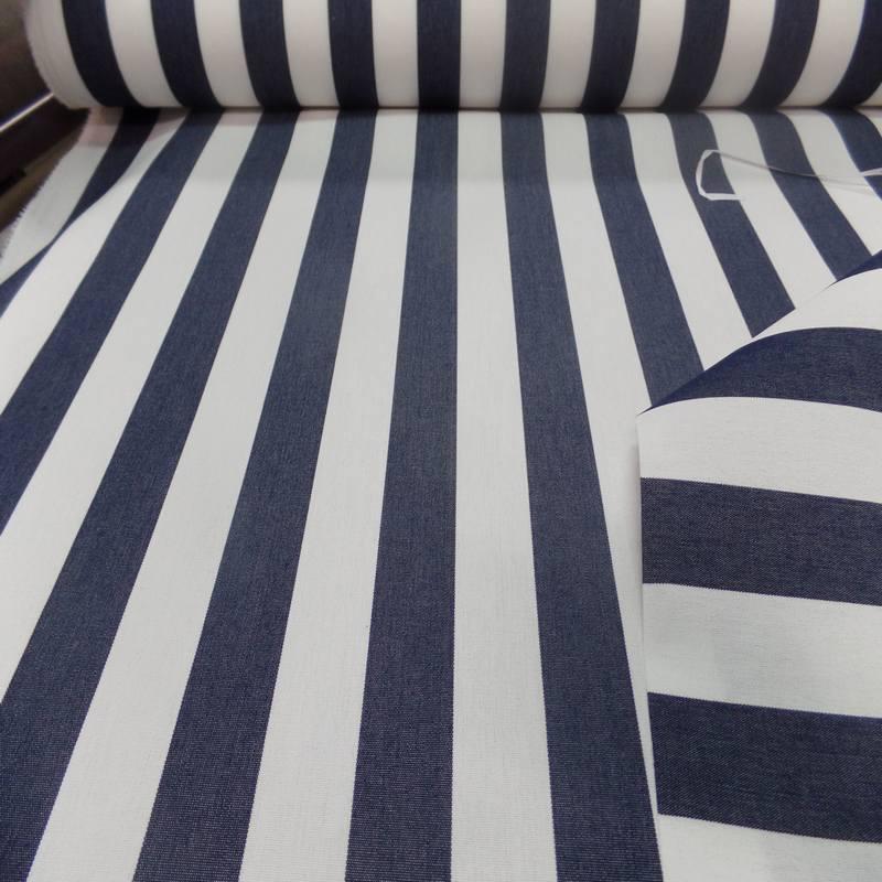 Vente de tissu Bâche raye blanc bleu fonce 4 saisons en Teflon