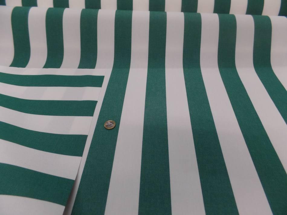 vente Toile de store bâche rayé blanc vert 4 saisons en téflon pas cher