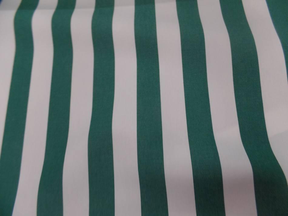 Toile de store bâche rayé blanc vert 4 saisons en téflon en 1.60m