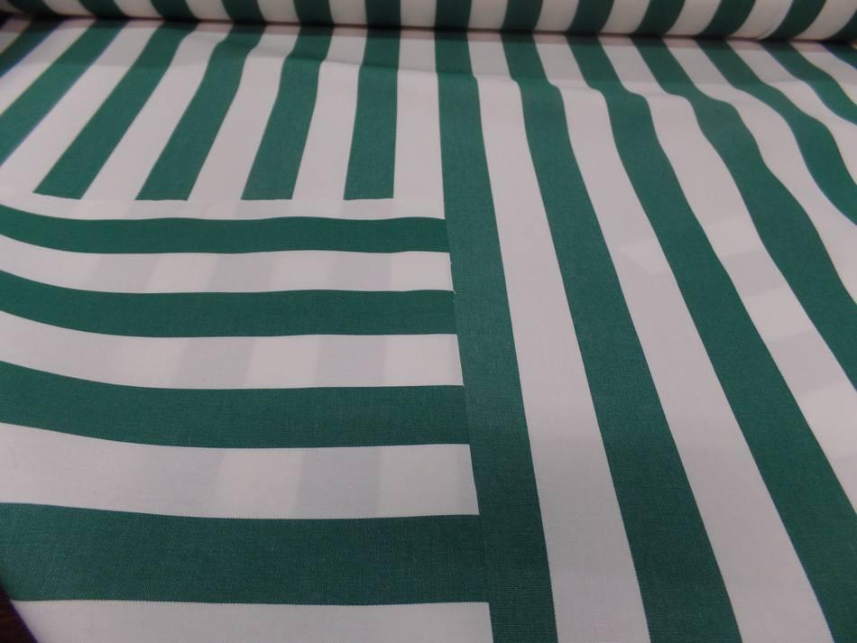vente Toile de store bâche rayé blanc vert 4 saisons en téflon en 1.60m