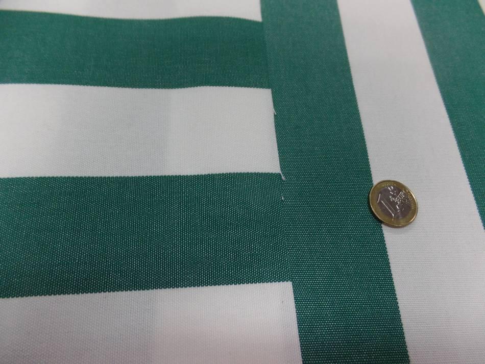 vente Toile de store bâche rayé blanc vert 4 saisons en téflon en 1.60m en ligne