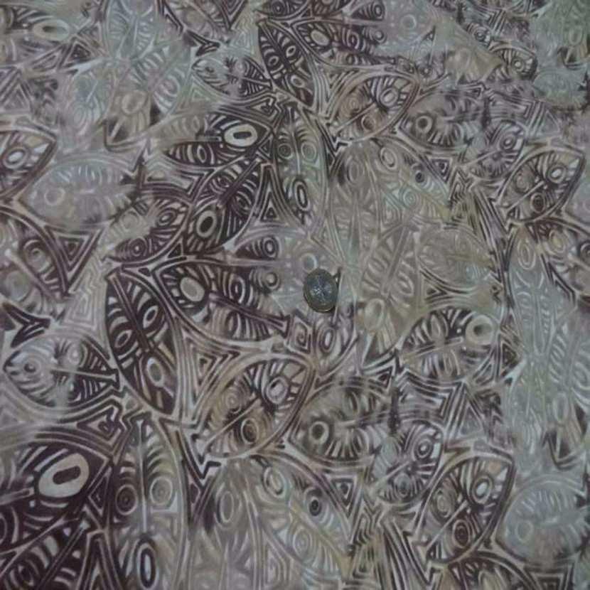 Batik motif masque africain ton beige marron0
