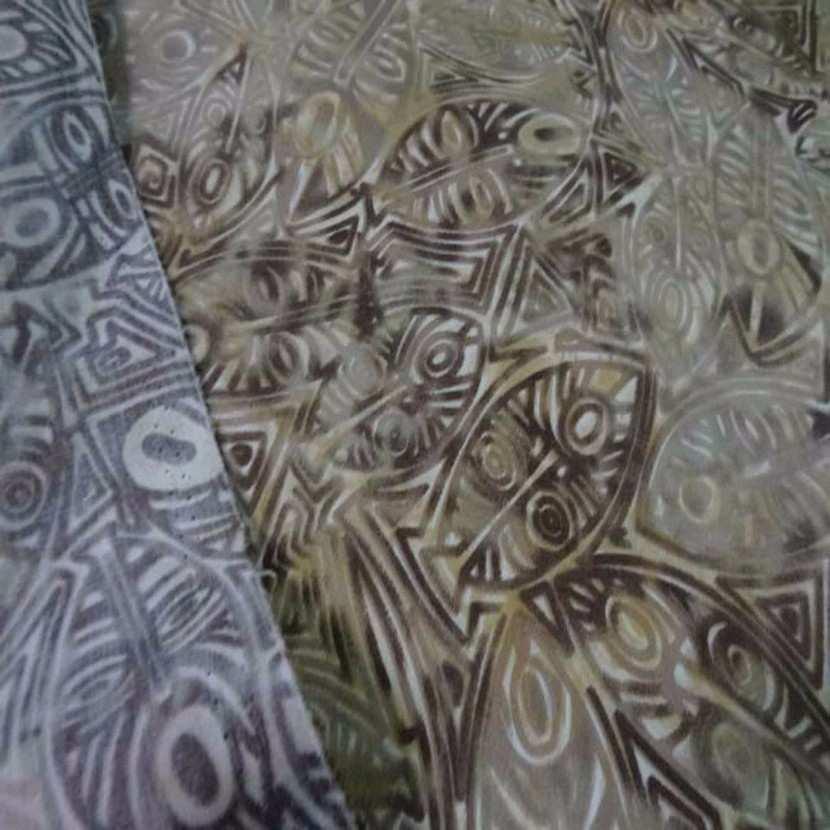 Batik motif masque africain ton beige marron8