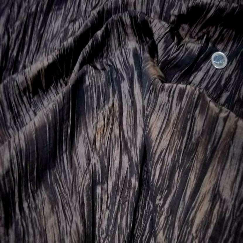 Beau taffetas froisse plisse marron reflets noir en 1 25m de l