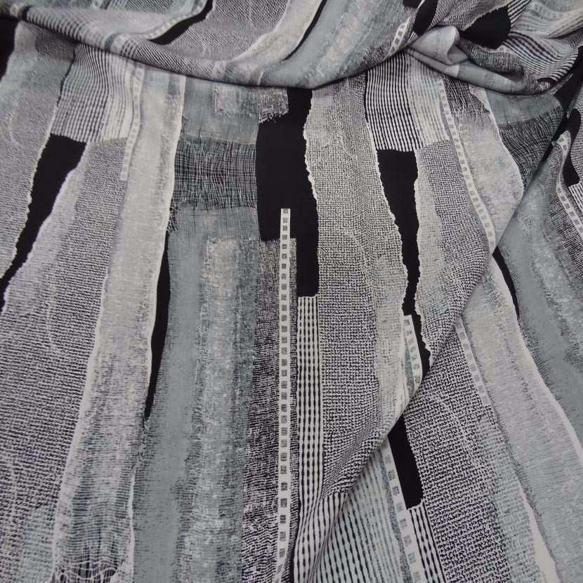 Belle microfibre imprime gris blanc noir