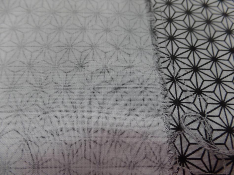 Coton 100 blanc imprime geometrique noir en 1 45m de l9