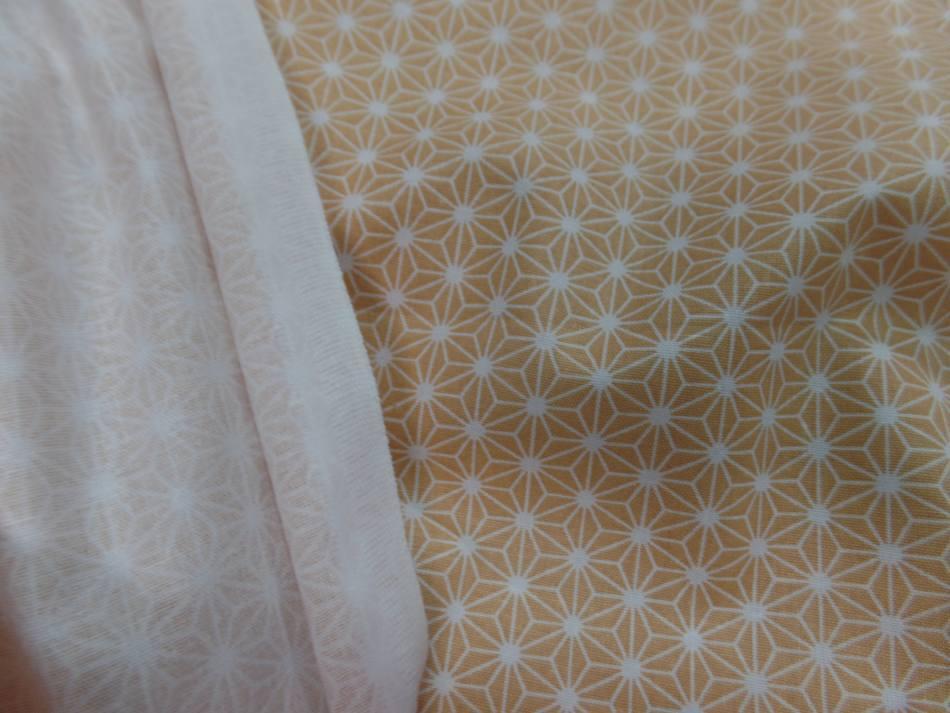 Coton 100 cretonne imprime geometrique jaune safran et blanc en 1 45m de l