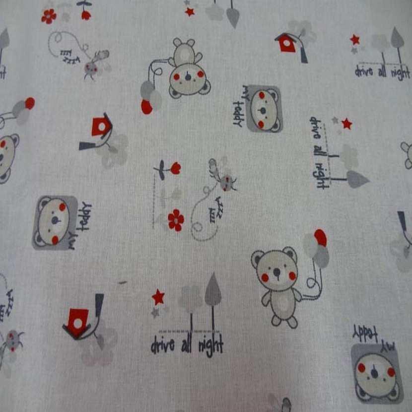 Coton blanc imprime enfant ton beige gris rouge 1
