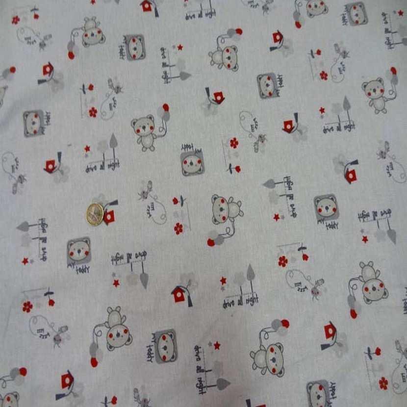 Coton blanc imprime enfant ton beige gris rouge3