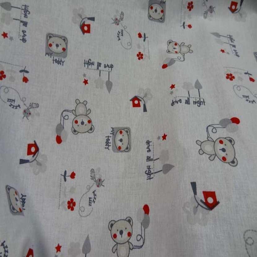 Coton blanc imprime enfant ton beige gris rouge5
