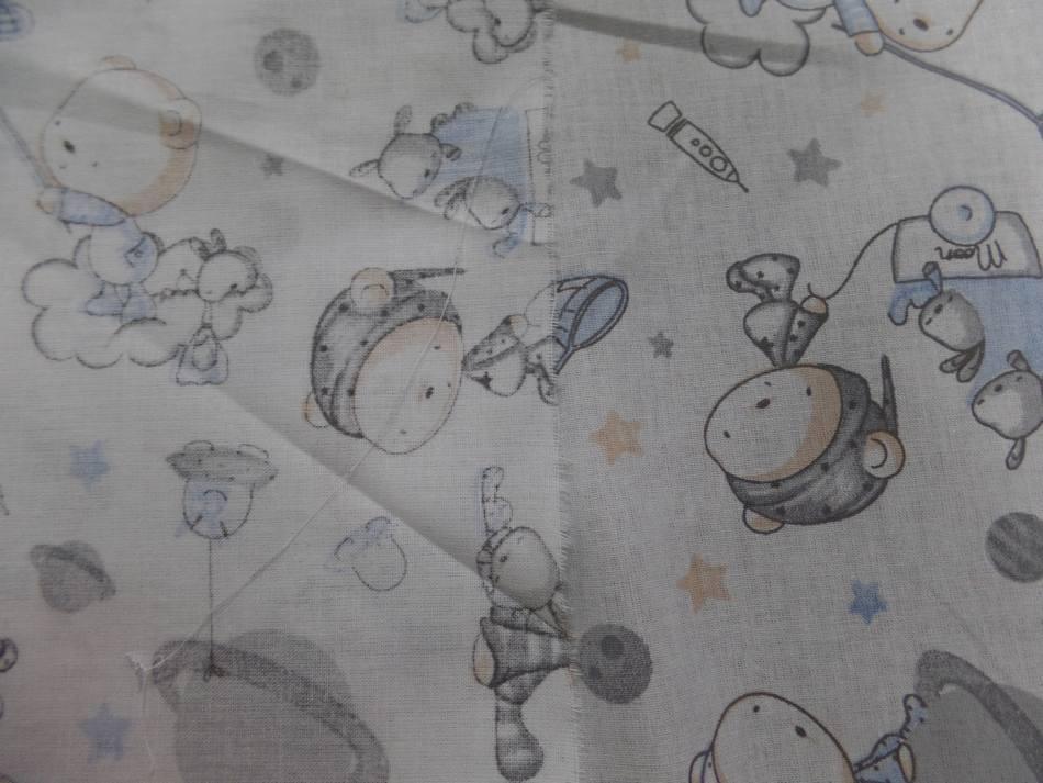 Coton blanc imprime enfant ton bleu et gris