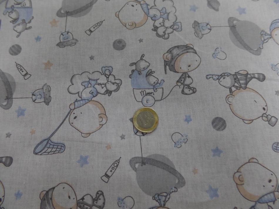 Coton blanc imprime enfant ton bleu et gris Winnie