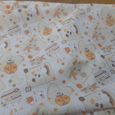 Coton blanc imprime enfant ton orange motifs coccinelle chat chien