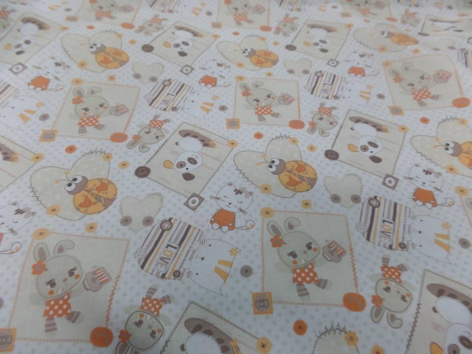 Coton blanc imprime enfant ton orange motifs coccinelle chat chien0