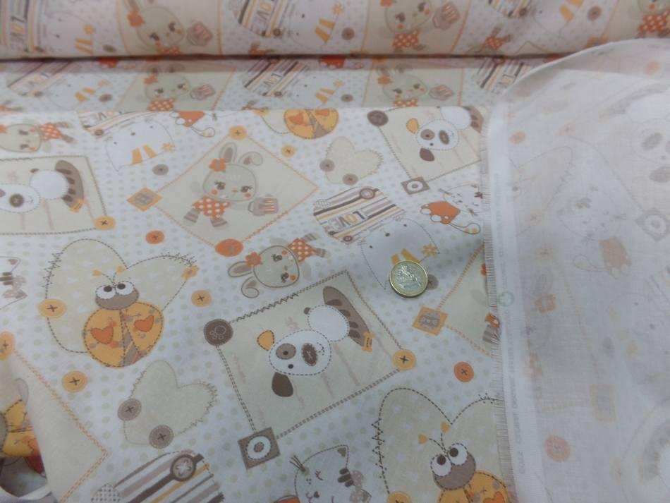 Coton blanc imprime enfant ton orange motifs coccinelle chat chien02