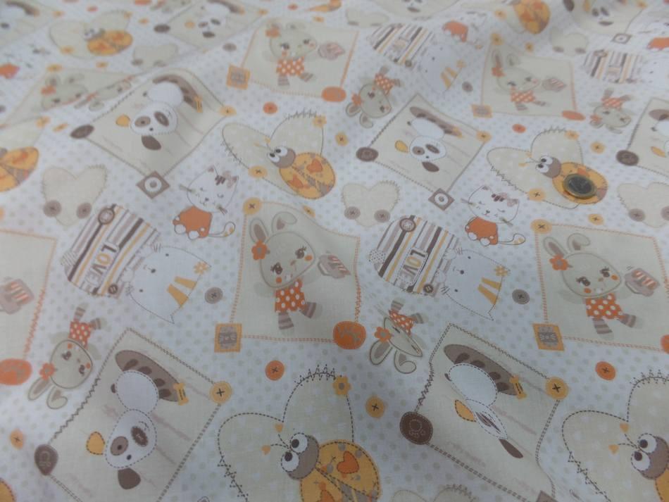 Coton blanc imprime enfant ton orange motifs coccinelle chat chien2