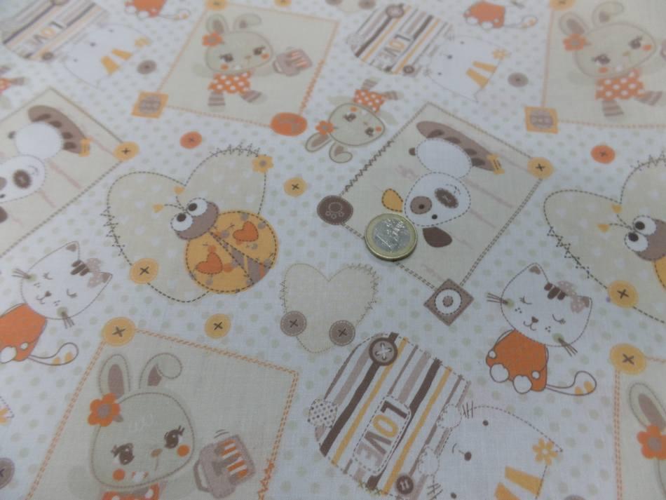Coton blanc imprime enfant ton orange motifs coccinelle chat chien3