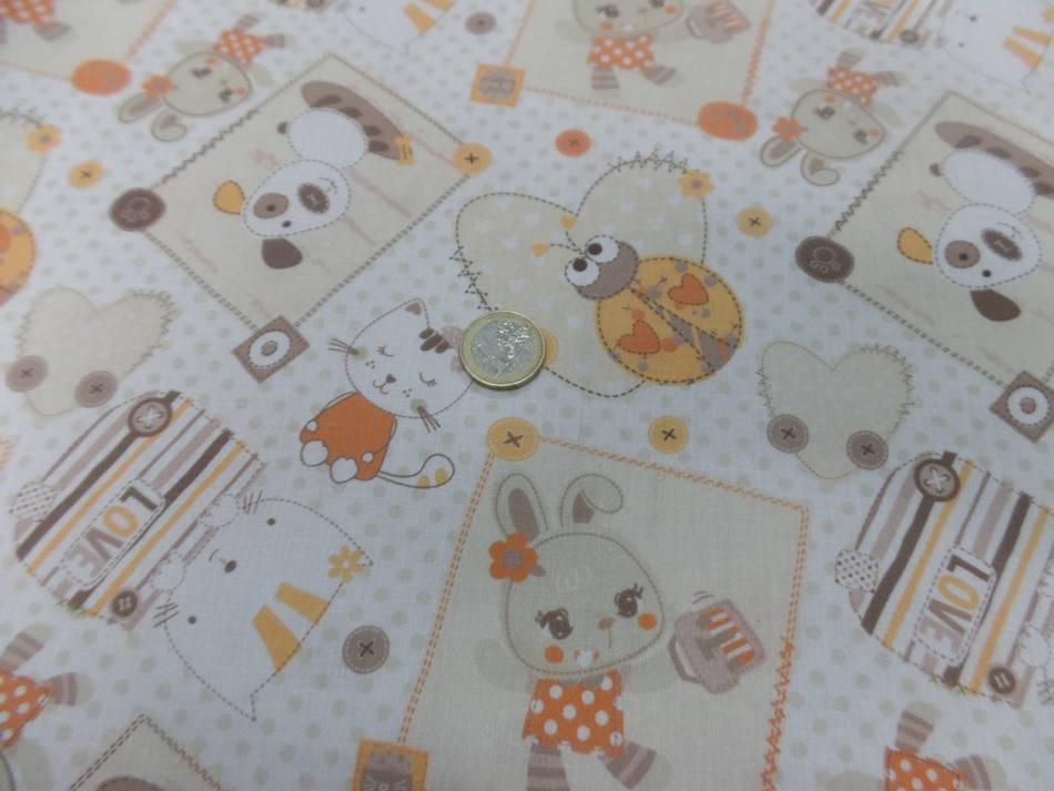 Coton blanc imprime enfant ton orange motifs coccinelle chat chien5