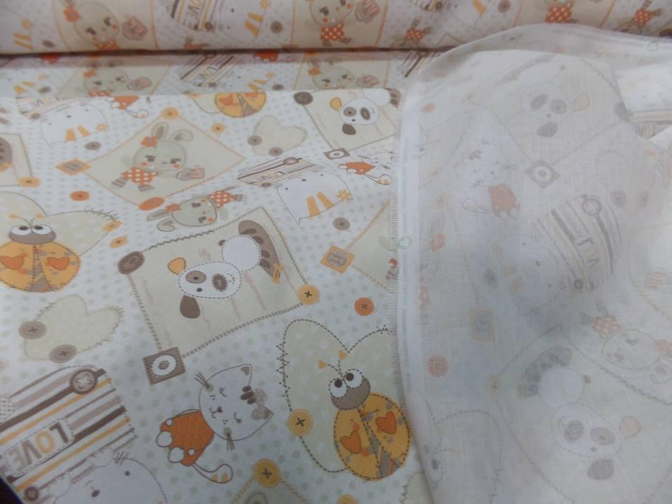 Coton blanc imprime enfant ton orange motifs coccinelle chat chien50