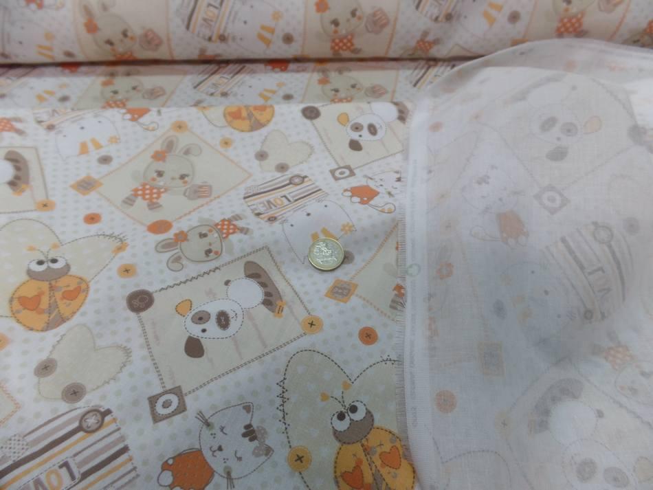 Coton blanc imprime enfant ton orange motifs coccinelle chat chien6