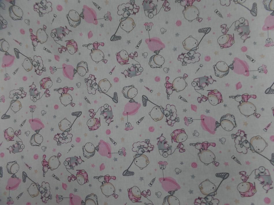 tissu coton blanc imprime enfant ton rose et gris