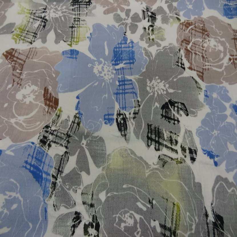 Coton blanc imprime fleurs bleu taupe et gris2