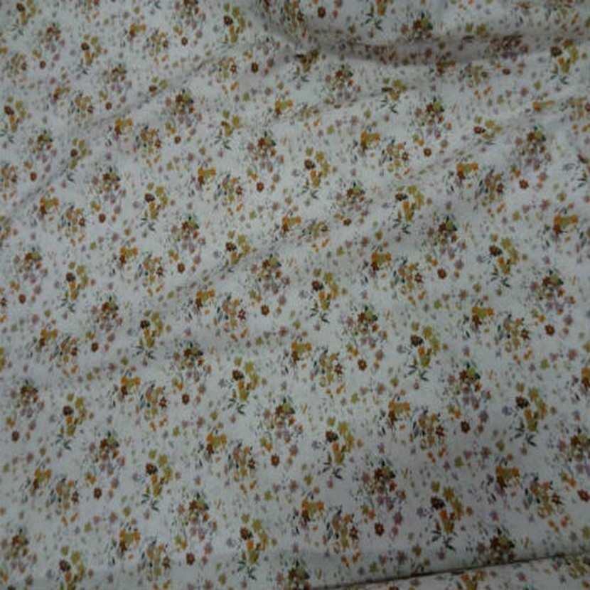 Coton blanc imprime petite fleurs ton de terre4