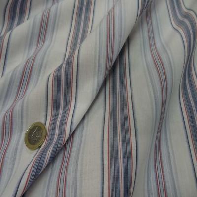 Coton blanc raye bleu et rouge1