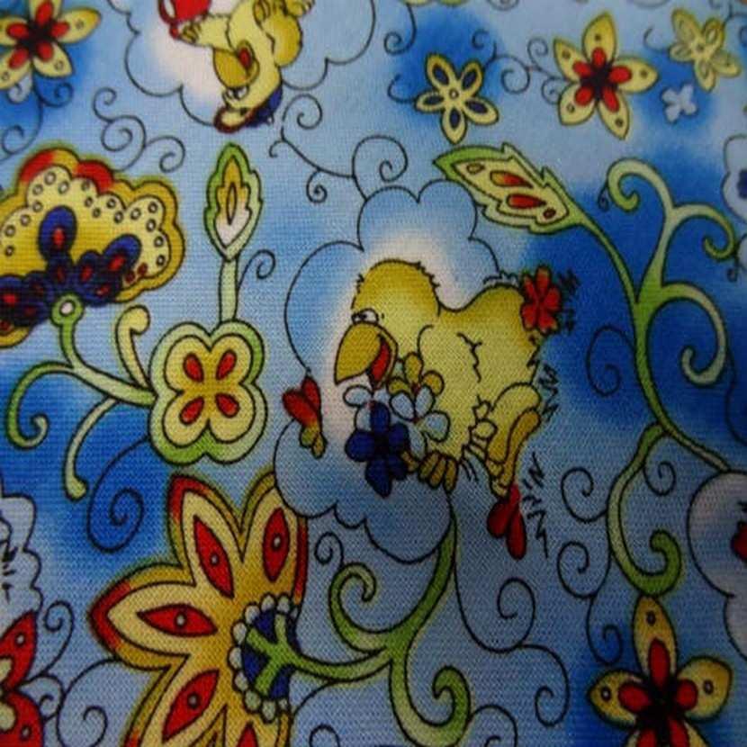 Coton bleu imprime canard en 1 40m de large4 1