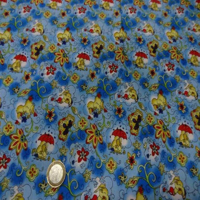 Coton bleu imprime canard en 1 40m de large7