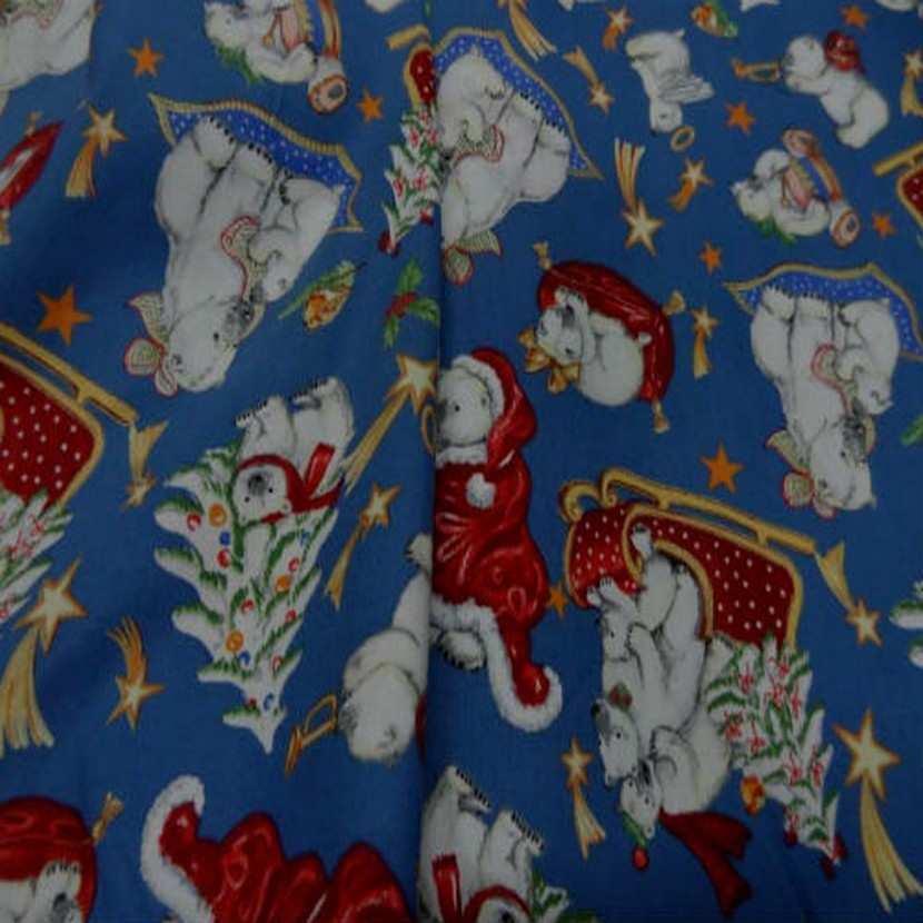 Coton bleu indigo imprime ours9
