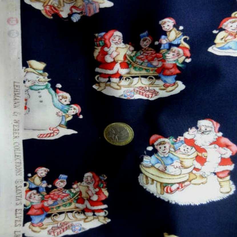 Coton bleu marine imprime noel0