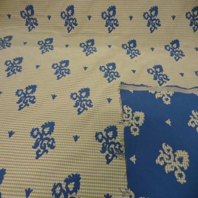 Coton d ameublement double face bleu indigo vichy jaune et blanc