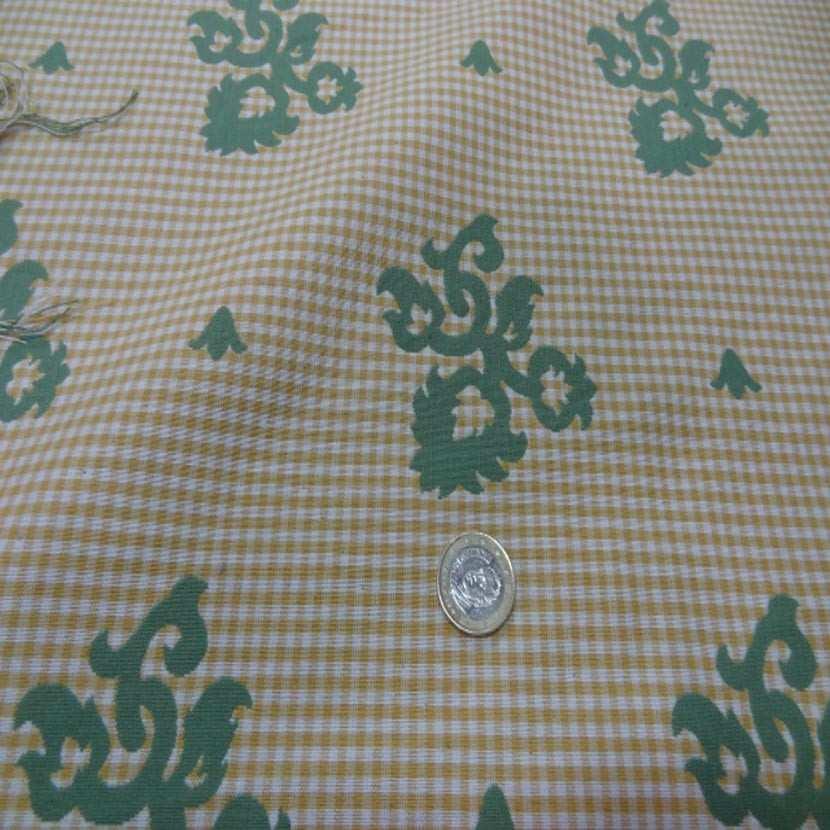 Coton d ameublement double face vert vichy jaune et blanc0