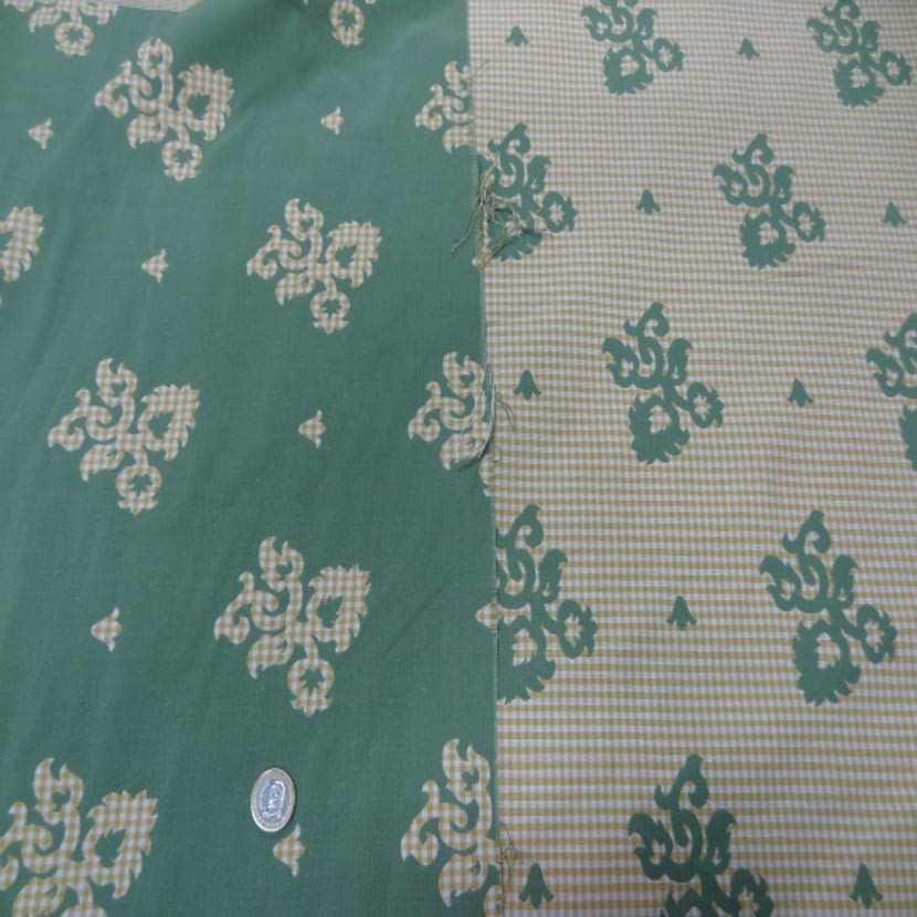 Coton d ameublement double face vert vichy jaune et blanc07
