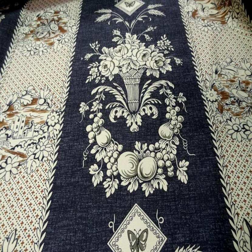 Coton d ameublement ecrue bleu fonce0