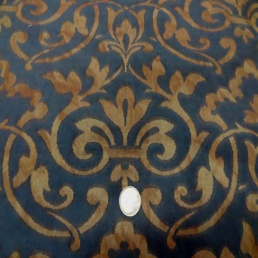 Coton d ameublement faconne bleu vieil or9
