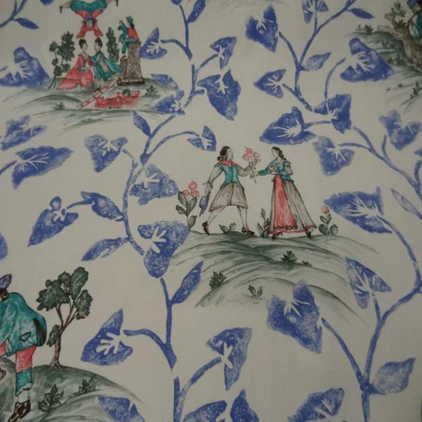 Coton d ameublement imprime toile de jouy ecrue bleu rouge