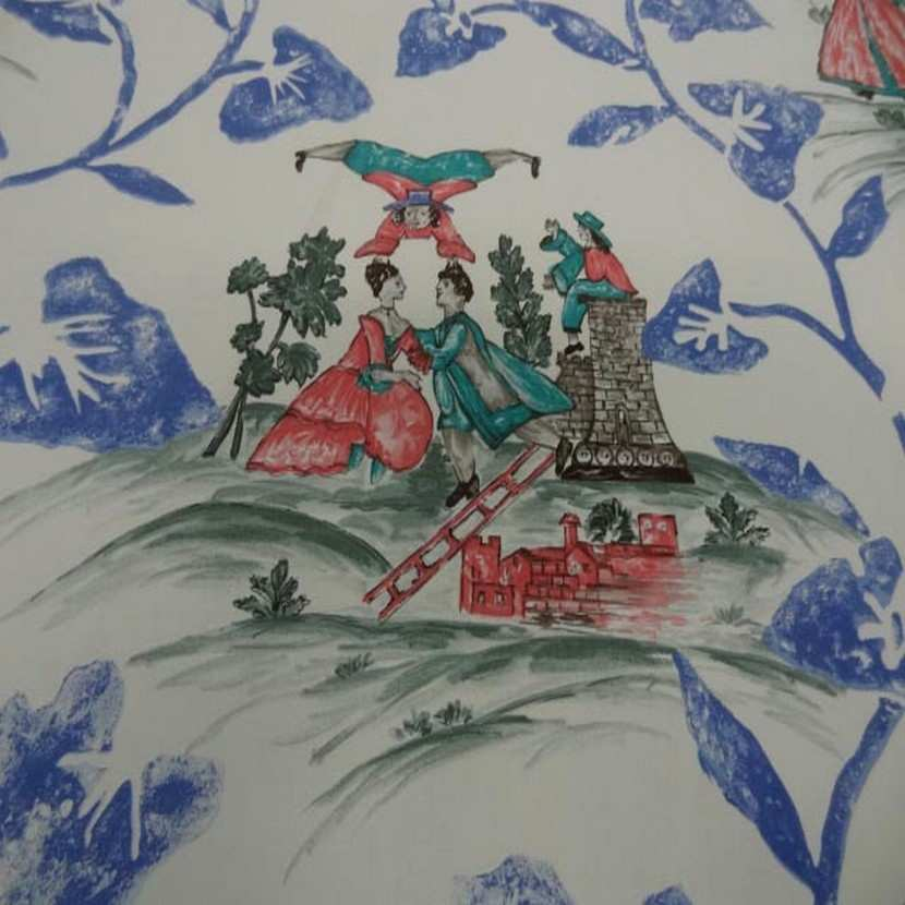 Coton d ameublement imprime toile de jouy ecrue bleu rouge1